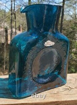 Blenko Glass MCM Mid-Century Vintage Aqua Blue Water Bottle
