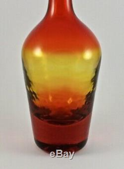 Blenko Glass MCM Tangerine # 6724 Decanter w Clear Paperweight Stopper Ca. 1967