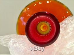 Blenko Glass Optic Decanter By Joel Myers 6530S w Teardrop Ribbed Stopper