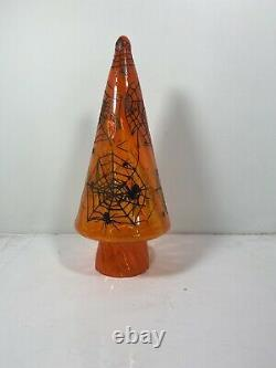 Blenko Glass Pawpaw Orange Halloween Spider Cobweb Tree