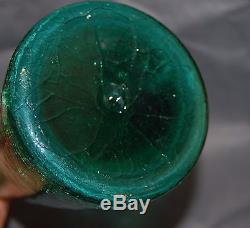Blenko Jade Green Crackle Glass Bent Decanter Anderson