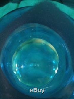 Blenko Joel Myers 1969 Architectural 23.5 Turquoise Optic Floor Decanter 6955