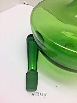 Blenko MID Century Modern Joel Myers Grenn Glass Decanter