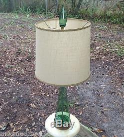 Blenko Marbro Green Studio Art Glass Bottlef Lamp Finial Mid Century Modernist