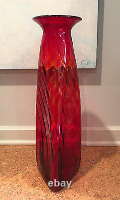 Blenko Red Glass Architectural Scale Floor Vase 704 Joel Philip Myers