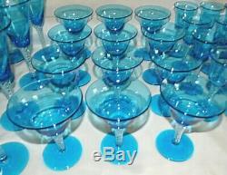Blenko USA #800 12 Waters, 12 Sherbets, 12 Wines Spiral Stem Turquoise Circa 1956