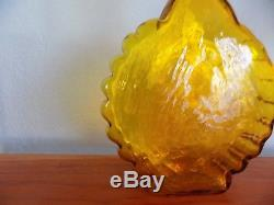 Blenko Wayne Husted # 6111 cog style, art glass decanter, jonquil, mid century