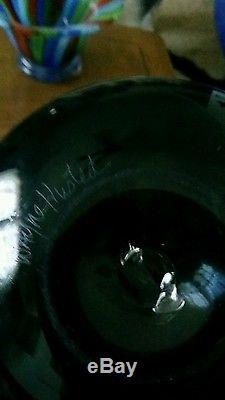 Blenko XL Charcoal GENIE Decanter-Signed by Wayne Husted & Blenko