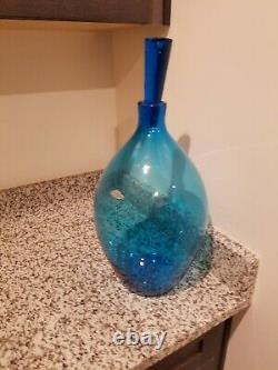 Blenko blue mid century modern decanter huge