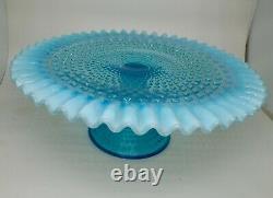 Blue 12 Hobnail Vintage Cake Plate Stand
