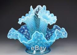Blue Opalescent Fenton Glass Hobnail Epergne With Three Horns A