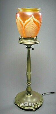 Bronze Columnar Lamp Base with Quezal Shade Signed c. 1902-24 Tiffany Steuben Era