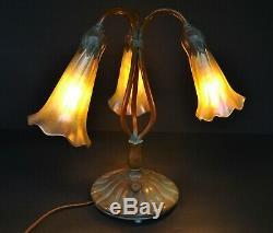 Buffalo Studios 3 Light Lily Tiffany Style Lamp with Zephyr Iridescent Shades