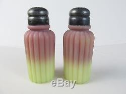 C1885 MT WASHINGTON Ribbed Pillar BURMESE Glass Salt & Pepper SHAKERS