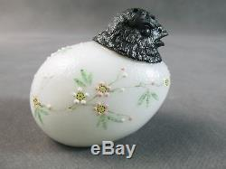 C1890 MT. WASHINGTON Figural CHICK Head Salt SHAKER-Opal Glass withFloral Enamel