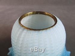 C1890 Victorian MOTHER OF PEARL Air Trap Glass LAMPBlue Diamond Quilted NR