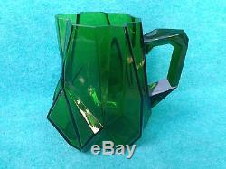 Consolidated Glass Art Deco Ruba Rombic Water Pitcher Jungle Green Mint Haley