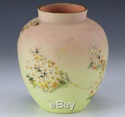 C 1900 Burmese by Mt Washington Art Glass Hand painted Raised Enamel Urn Vase