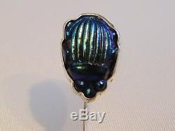Ca 1910 ANTIQUE TIFFANY FAVRILE ART GLASS COBALT BLUE SCARAB STERLING STICK PIN