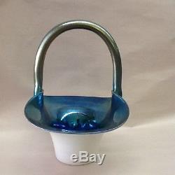 Carder Steuben Calcite Blue Aurene Handled Basket Shape 453