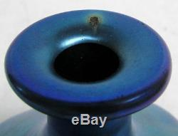 Classic Steuben Blue Aurene Iridescence Art Glass Signed Bulbous Perfume Bottle