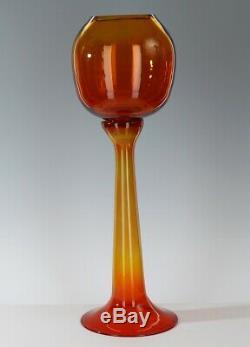 Crazy Rare Large Blenko Wayne Husted Tangerine 5727 Trumpet Vase 1957 / 1958
