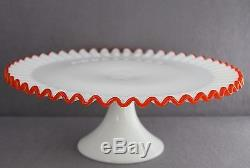 Estate Rare Vintage Fenton Flame Crest Milk Glass 13 Inch Footed Cake Stand