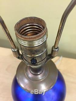 Early Blue Aurene Glass Table Lamp Steuben