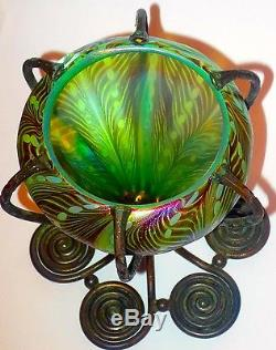 Early Louis C. Tiffany Favrile Glass Bronze Mounted Decorated Vase