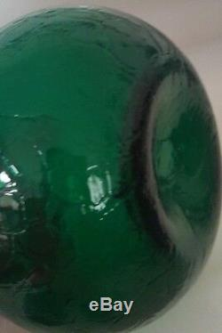 Emerald Green Crackle Glass Blenko Decanter Pointy Stopper And Metal Label