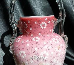 Enamel Decorated Victorian Art Glass Peachblow Cased Basket Vase with Twig Handle