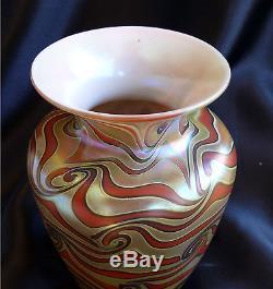 Excellent Durand King Tut Art Glass Vase, Swirled Iridescence