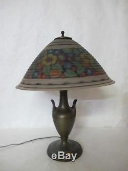 Extremely Rare C. 1920 Pairpoint Reverse-painted Lamp With Multi-colored Flowers