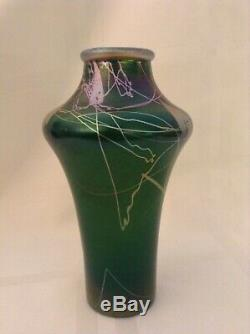 Extremely Rare Steuben Tyrian Vase. Signed