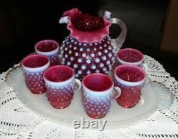 FENTON ART GLASS CRANBERRY MINI PITCHER CUPS AND TRAY DORIS LECHLER 1980s