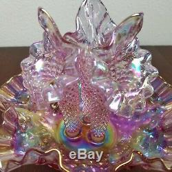 FENTON Art Glass Pink Iridescent Hobnail 3 Horn EPERGNE Pink Carnival