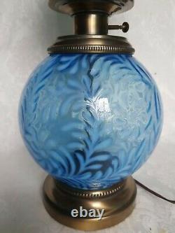 FENTON BLUE OPALESCENT DAISY & FERN GWTW Hurricane Parlor Banquet Lamp RARE