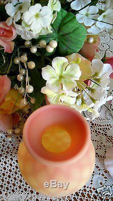 Fenton Burmese Diamond Optic Vase Hand Painted Roses 2008
