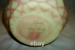 FENTON BURMESE Pink DIAMOND OPTIC Satin HP Art Glass PINCH VASE Signed LARGE