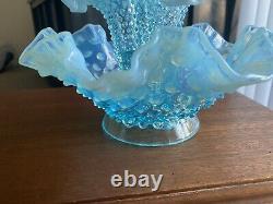 FENTON Blue Opalescent Hobnail Glass Epergne Bowl 3 Lily Horn Vase