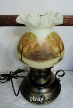 FENTON CABIN in the WOODS Hammered Colonial LAMP Pt'd by D Frederick NICE