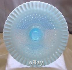 FENTON GLASSMINT+PERFVINTAGE1940sBLUE OPALESCENT HOBNAIL13CAKE PLATE/STAND