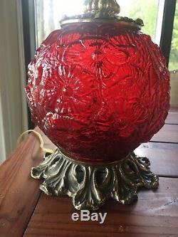 FENTON GLASS CRANBERRY POPPY TABLE LAMP Vintage