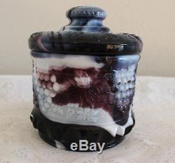 Fenton Glass Purple Slag Grape & Cable Tobacco Cracker Candy Jar