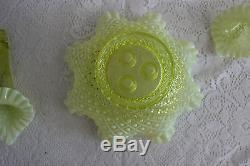 Fenton Glass Vaseline Topaz Opalescent Diamond Lace Hobnail 3 Horn Epergne (c)