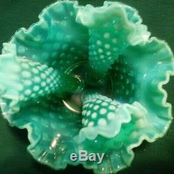 FENTON GREEN OPALESCENT HOBNAIL GLASS EPERGNE. Unmarked vintage