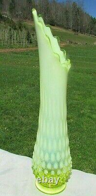 FENTON Glass 1950's Topaz-Vaseline OPALESCENT HOBNAIL SWUNG VASE 13H RARE
