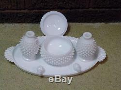 FENTON HOBNAIL White Milk Glass VANITY SET / Tray, 2 Perfumes, Powder