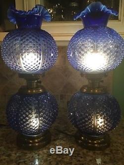 FENTON LAMP Cobalt Blue Opalescent GWTW