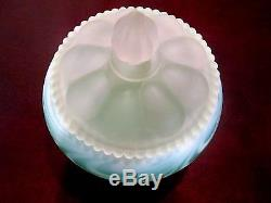 Fenton Rare! Large Green Satin Opalescent Swirl Feather Candy1953 No Reserve